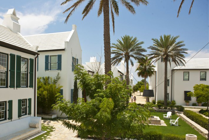 The all-white homes of Alys Beach in South Walton, Florida