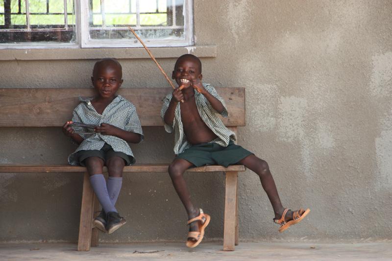Boys outside class