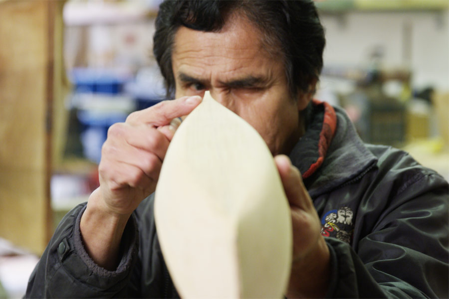 Joe Martin demonstrates Nuu Chah Nulth canoe design at his workshop in Tofino.