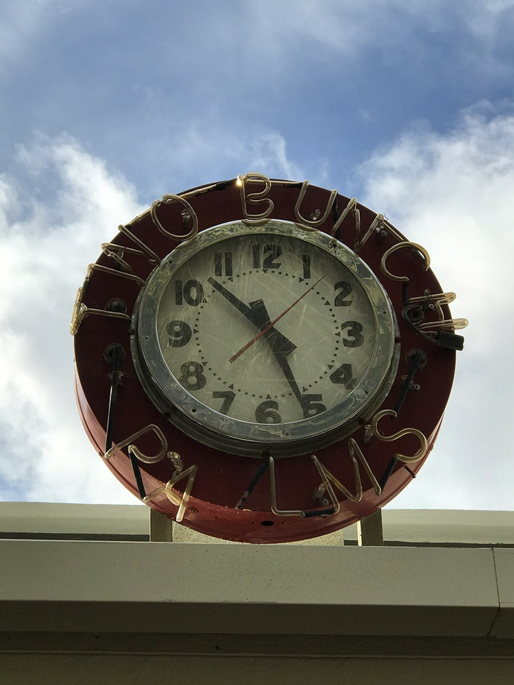 Two bunch palms clock