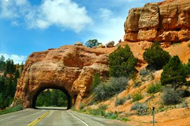 A red rock arch near Bryce Canyon along Utah scenic byway 12