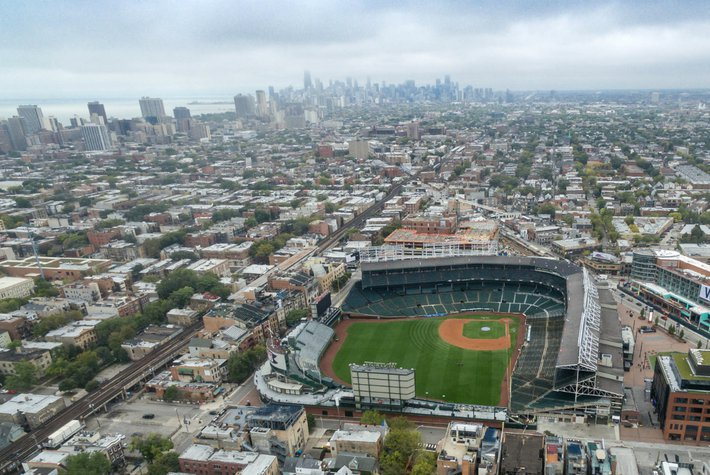Aerial view of Wrigleyville and Wrigley Field