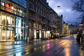 Street View of Zurich in Winter