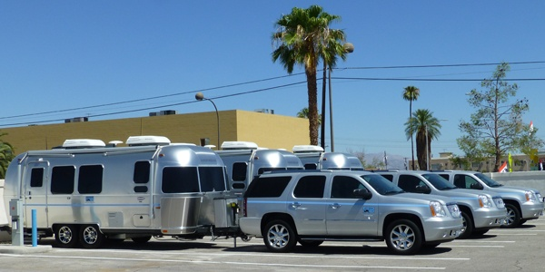 Airstreams on the lot