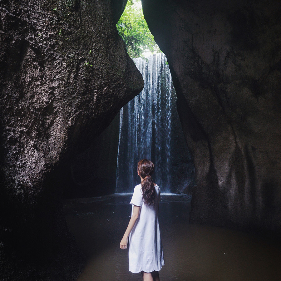 A waterfall in a cave