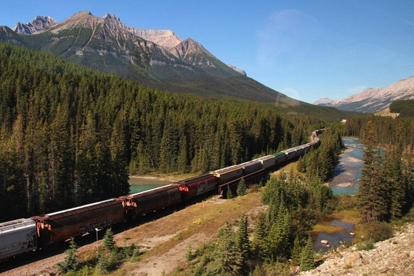 A train from Banff to Kamloops