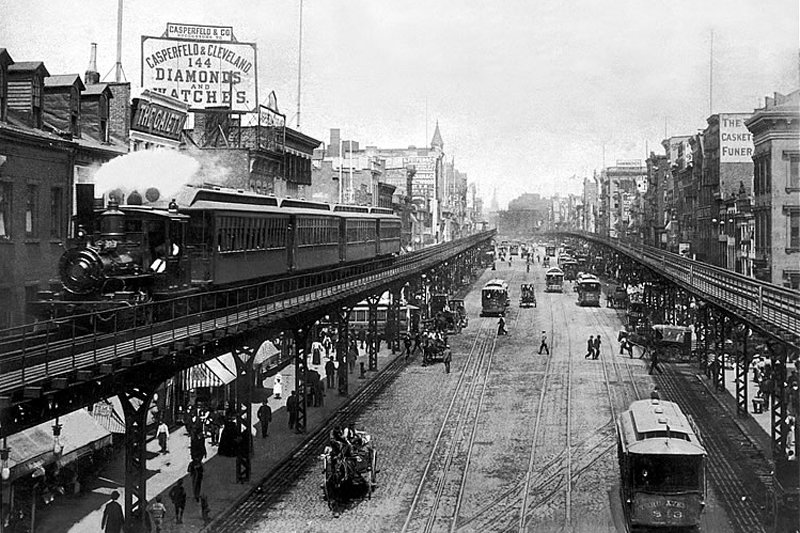 "A steam train on the Third Avenue El, over the Bowery, 1896. Photo: Courtesy of <a title=""The NYT Photo Archive"" href=""http://commons.wikimedia.org/wiki/The_New_York_Times"" target=""_blank"">The New York Times Photo Archive</a> / Flickr Commons"