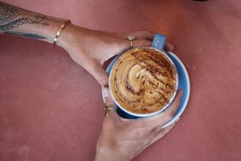 Coffee at Combi Cafe, Byron Bay, Australia.