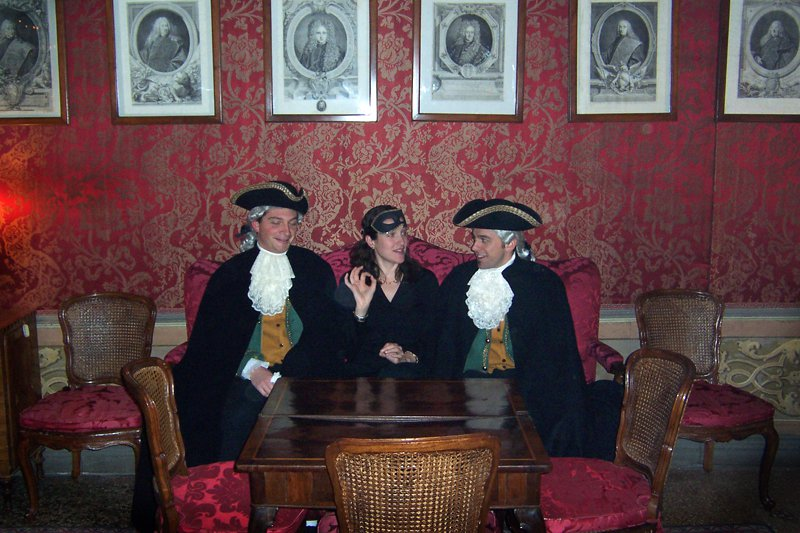 Pavia at a Carnevale party on Grand Canal a few years ago. Unidentified Venetian noblemen.