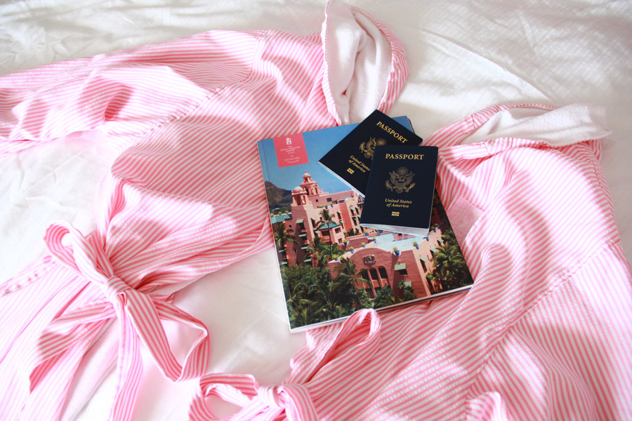 Striped pink bath coat
