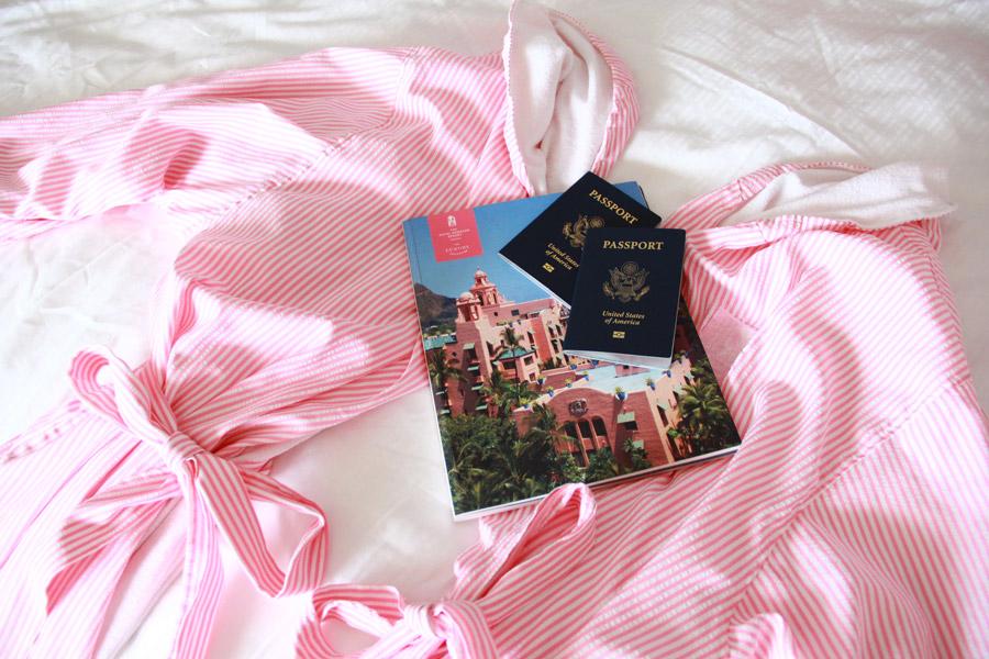 Striped pink bath coat