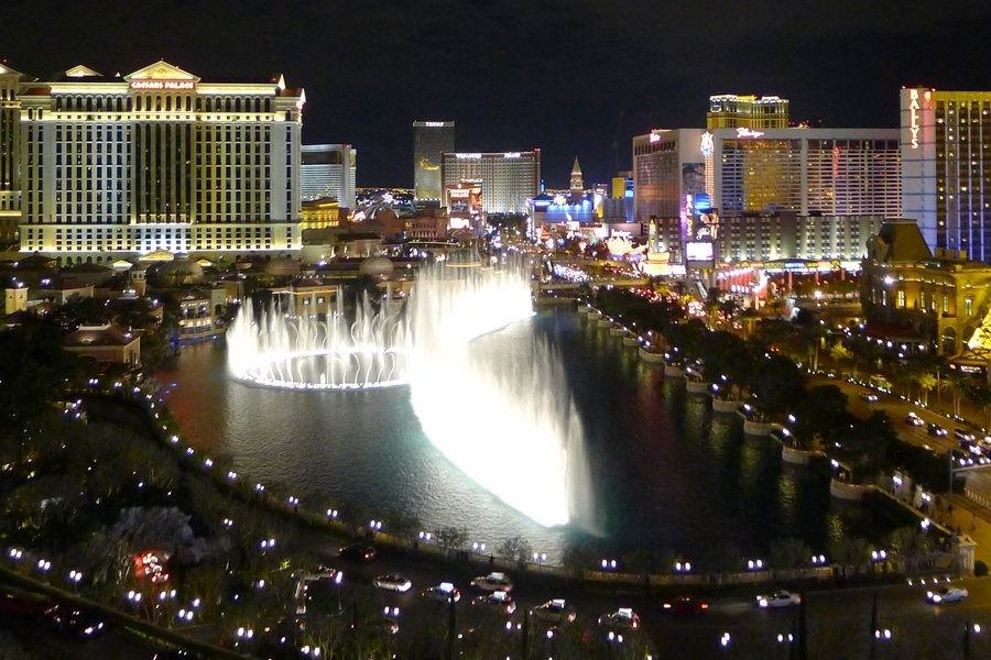 The dancing fountains of the Bellagio, as seen from the Cosmopolitan.