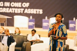 Elizabeth Babalola speaking at the Oxford's Conservation Geopolitics conference.