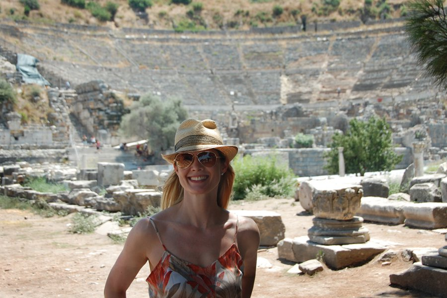 Stephanie on location in Ephesus.