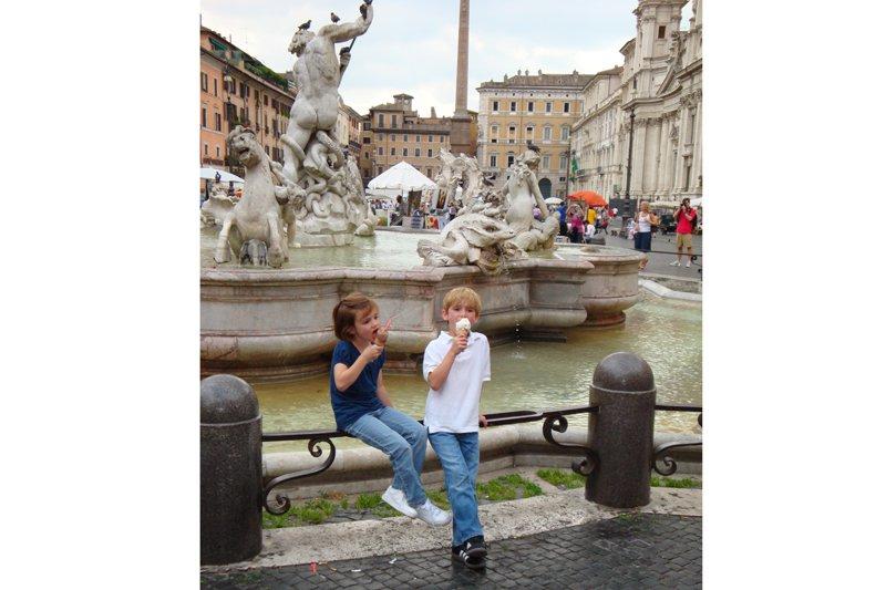 Eating gelato in Piazza Navona, Rome
