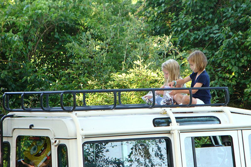The ultimate play space: atop a Land Rover, Watch Hill, Rhode Island