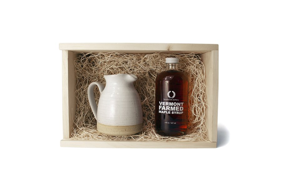 Farmhouse Pottery Pitcher and Maple Syrup