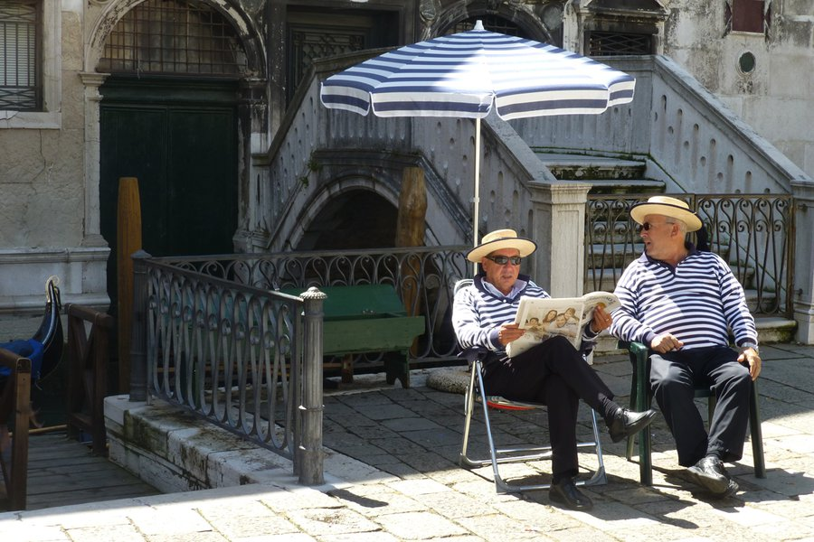 Gondoliers taking a break. Photo: James Sturz