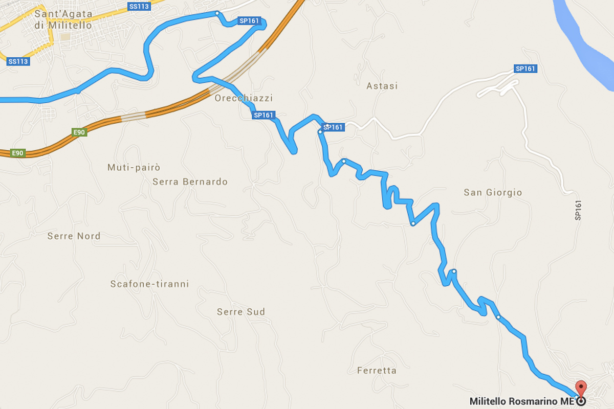 Map of journey through Sicily