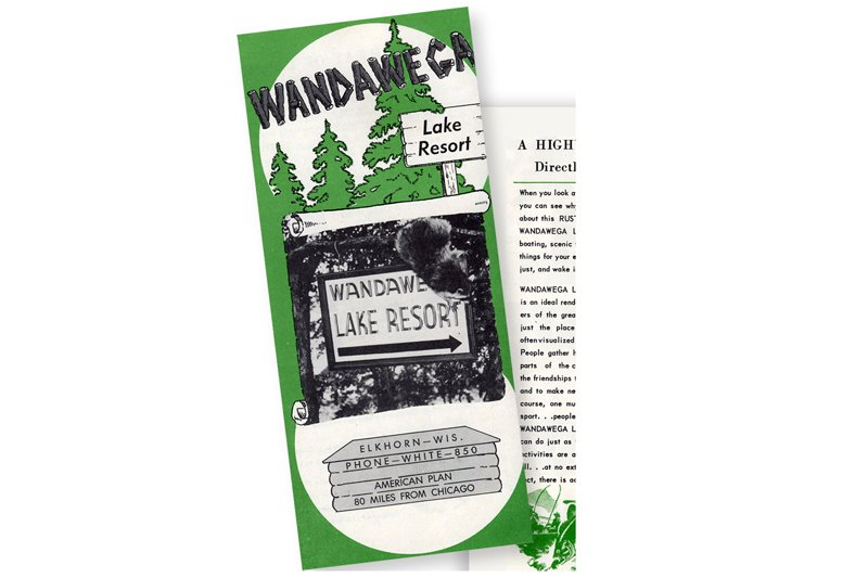 The original Wandawega Lake Resort brochure from the 1940s, featuring George. (He's hanging on the sign, top right.)