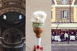 Church, gelato, and restaurant in Italy