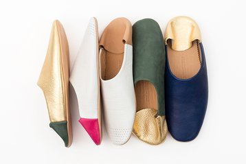 Jill Burrows Leather Babouche Slippers