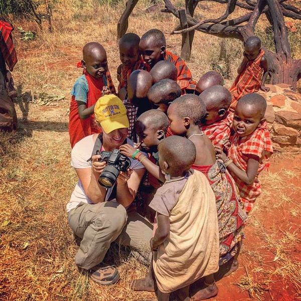 Jo Piazza with children at Ol Malo House in Kenya