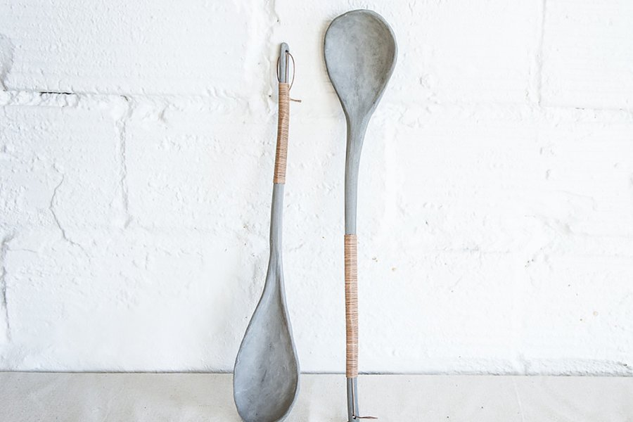 Porcelain and Leather Serving Spoon
