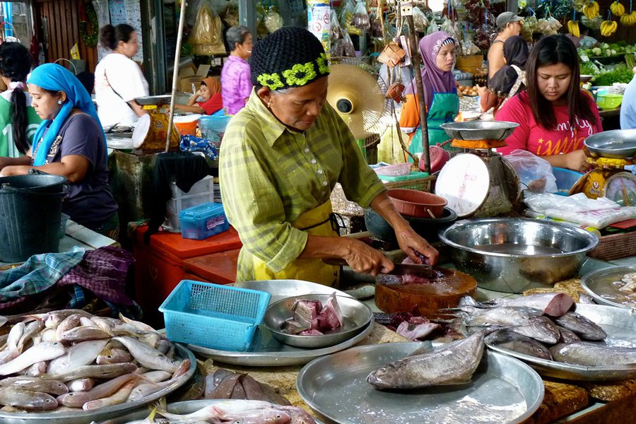 Chopping Fish at the Market