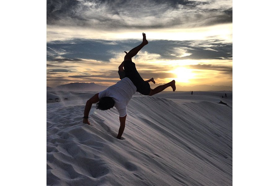 "Goofing around at White Sands National Park. Photo by <a title=""jacwhitenyc"" href=""http://instagram.com/jacwhitenyc"" target=""_blank"">@jacwhitenyc</a>"