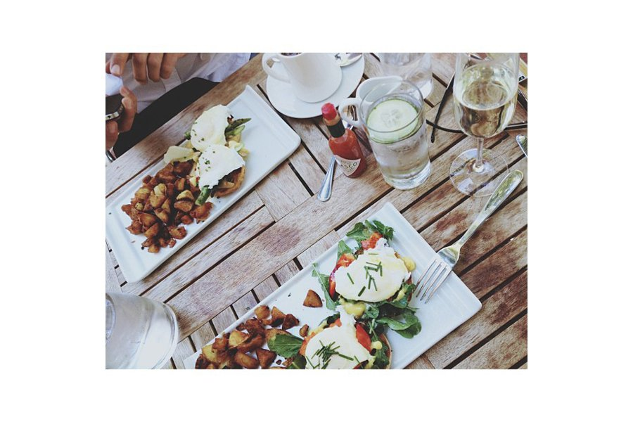 "Flashback to memorial weekend: lobster & arugula benedict + bubbly + friends from Van. Great way to kick back. Photo by <a title=""nycaboo"" href=""http://instagram.com/nycaboo"" target=""_blank"">@nycaboo</a>"