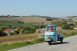 An Ape car in Le Marche, Italy.