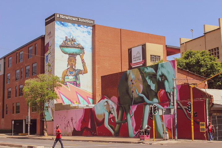 A mural in Johannesburg's Newtown neighborhood