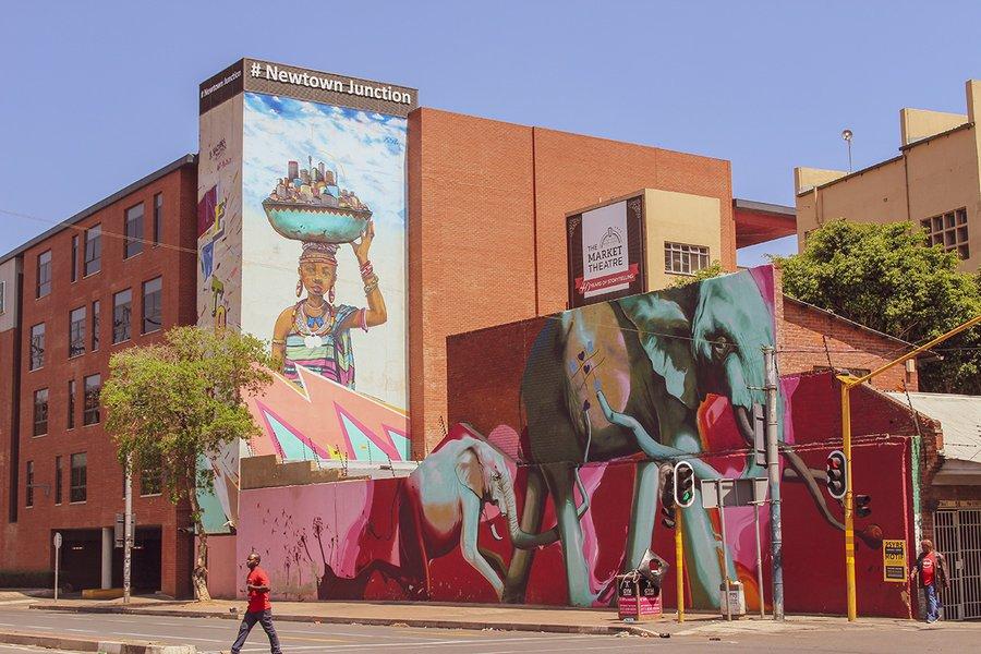 A mural in Johannesburg's Newtown neighborhood