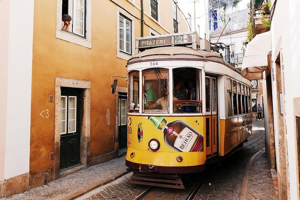 yellow tram in Lisbon, Portugal