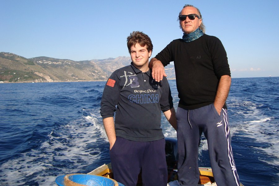 Tommaso and Beppe on a fishing expedition.