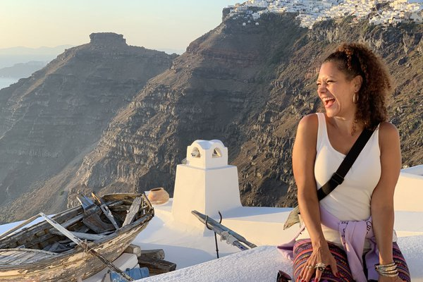 Marcy DePina in Santorini.