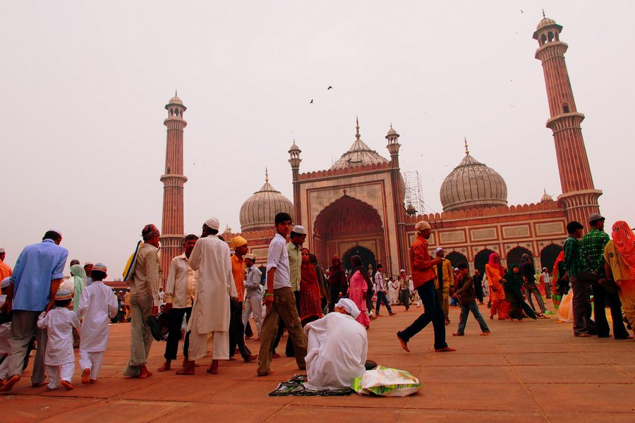 The world passes me by at Jama Masjid in Old Delhi after Friday prayers.