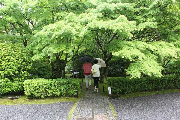 Entering the garden at Saiho-ji Temple in Kyoto