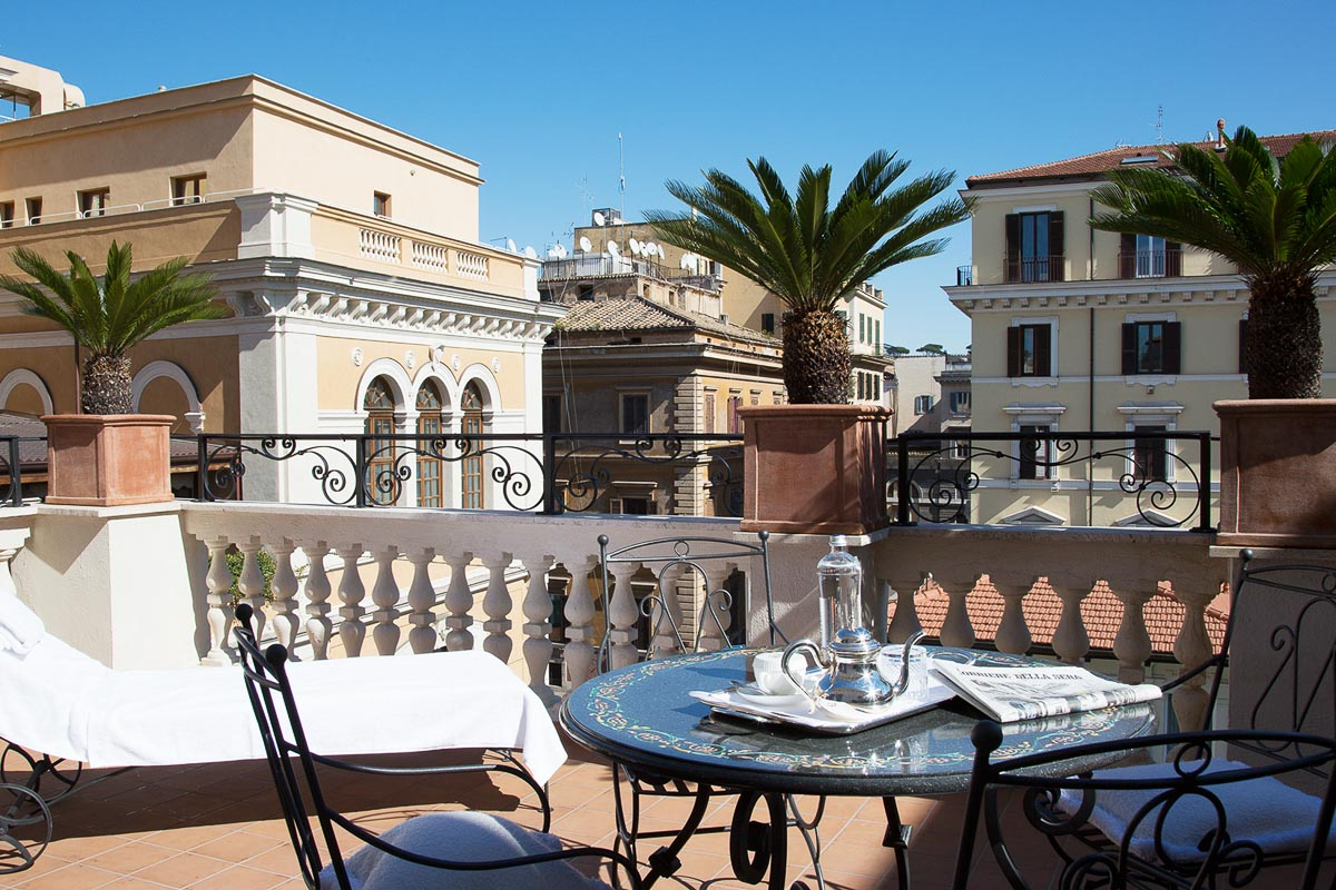 Palazzo Dama Hotel Rooftop patio and tea set-up