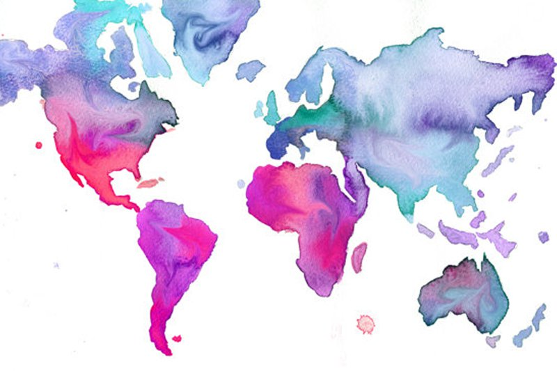 """Photo: <a title=""""Jessica Durrant on Etsy"""" href=""""http://www.etsy.com/listing/80023602/watercolor-world-map-illustration-no-7"""" target=""""_blank"""">Jessica Durrant</a>"""