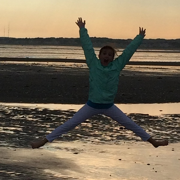 Child Jumping on Beach in Prout's Neck