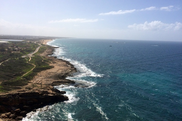 View of Meditteranean shoreline in Rosh Hanikra