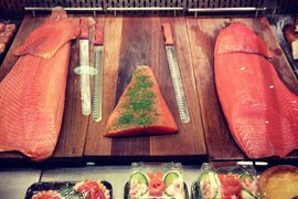Fresh salmon at the Ostermalm Food Hall