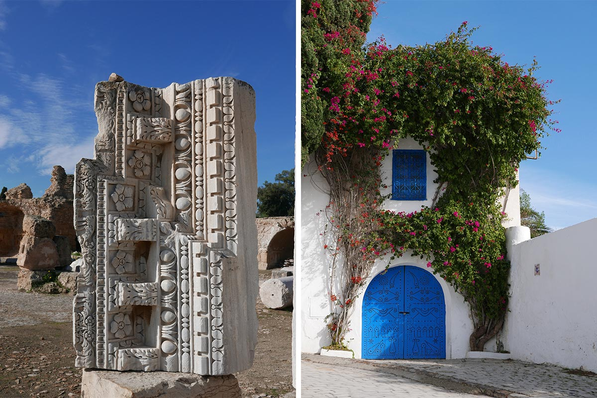 The ancient city of Carthage and Bougainvillea in Sidi Bou Said, Tunisia