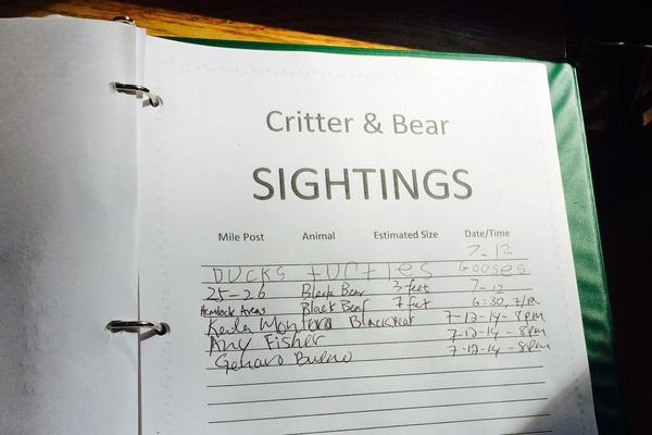 Skyland Resort Critter and Bear Sightings