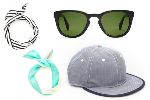 Sunglasses, Twist Scarf, and Baseball Cap