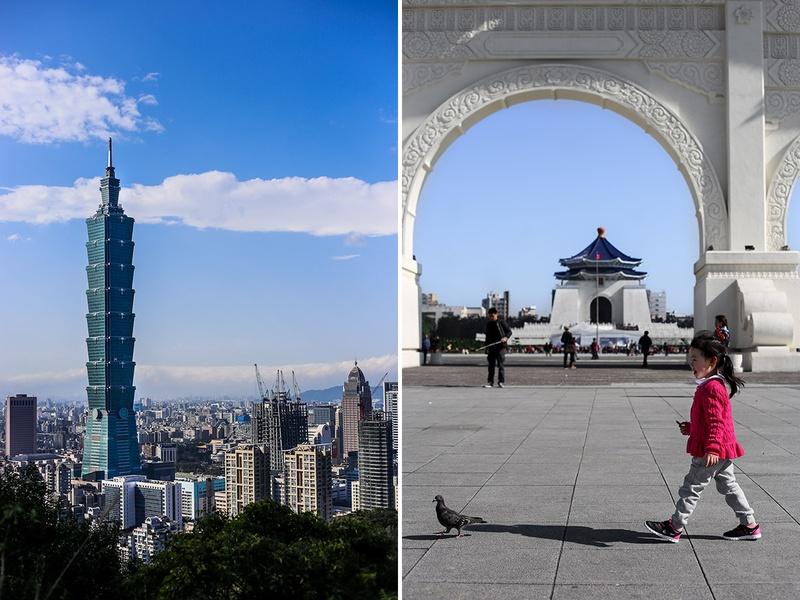 Chiang Kai-shek Memorial & Taipei 101 in Taipei, Taiwan