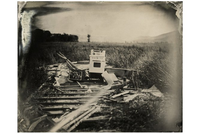 """An Oven Rests in the Field"" 8 x 10"" original tintype. All photos: Robert Christian Malmberg"