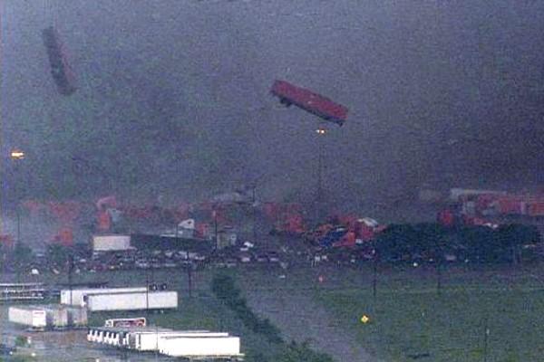 Trucks flying in a tornado.
